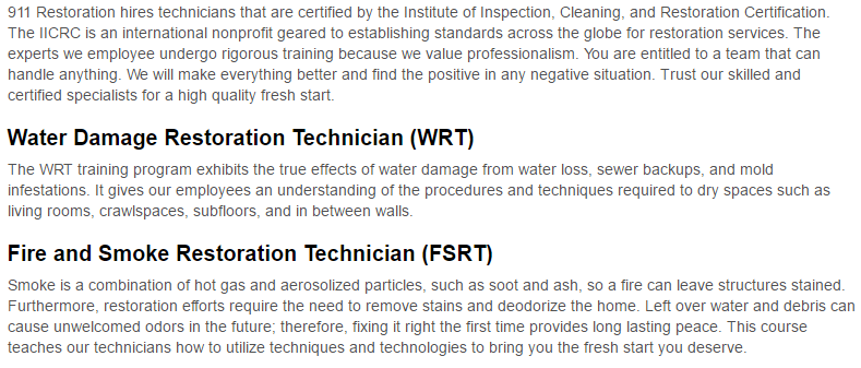911 Restoration of Charlotte Certification page